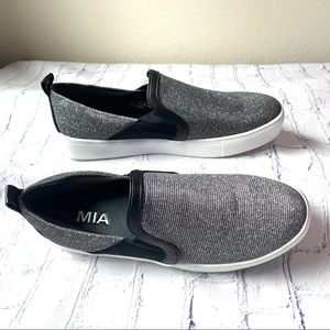 "MIA Silver ""Glitter"" Slip-On Sneakers Never Worn"